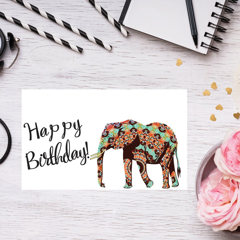 Happy Birthday Elephant Card Elegant