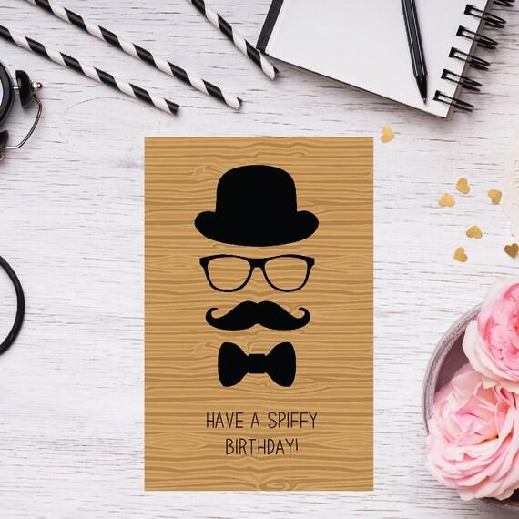 Printable Mustache Birthday Card Funny Birthday Card Happy Etsy