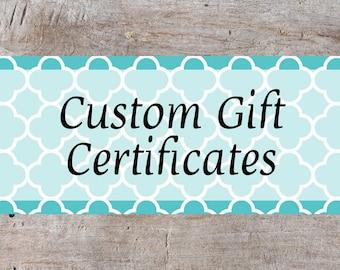Custom Gift Certificates, Printable Gift Certificates, Business Gift Certificates, Gift Voucher, Printable Gift Card, Blank Gift Certificate