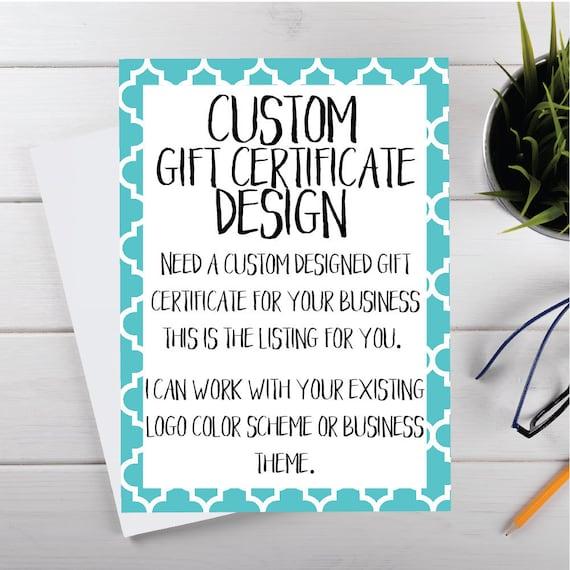 custom gift certificates printable gift certificates etsy