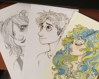 COMMISSIONS: Sketch, lineart, and watercolor custom portraits!