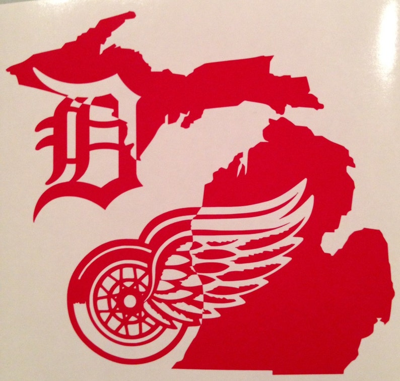 Detroit Red Wings Detroit Tigers Winged Wheel Old English D  3a6278b654