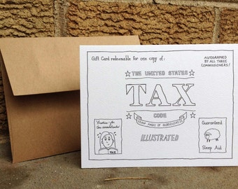 Gift Card for Copy of US Tax Code. Card set. Accountant humor. CPA humor. Tax season humor. Cards for accountants. Tax season cards