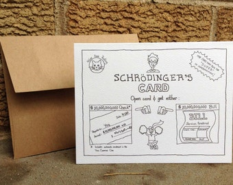 Schroedingers Gift Card. Card set. Blank card. All occasions. Absurd humor. Physics humor. Dark humor. Humorous gift card. Gift card holder