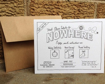 Gift Card for First Class Tickets to Nowhere. Card set. Blank card. All occasion. Absurd humor. Dark humor. Graduation card. Bon voyage card