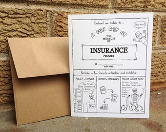 Tickets to Museum of Insurance. Card set. Blank card. All occasions. Absurd humor. Wry humor. Surreal. Humorous gift cards. Gift card holder