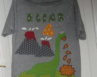 Dino dinosaur shirt birthday stitched diy handmade longneck volcano