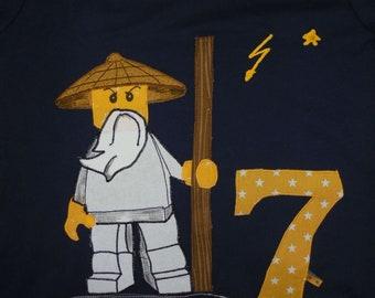 Shirt sewn ninja fighter applique,birthday diy handmade wo wu