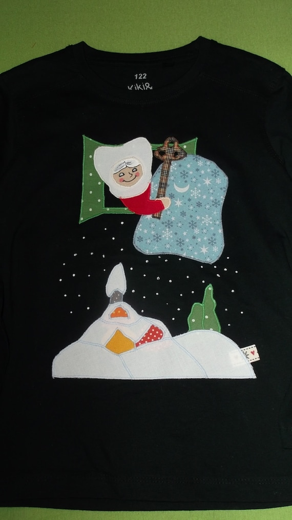 Shirt Frau Holle Applikation benäht Weihnachten