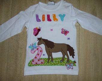 Shirt birthday pony horses butterflies new meadow spring sewn handmade