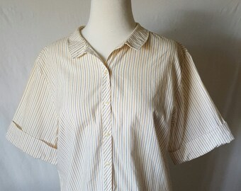 1950's Vintage 50s Women's Camp Shirt Blouse Country Thin Striped Collar Short Sleeve Button Down Shirt by Wash and Wear Sz Medium