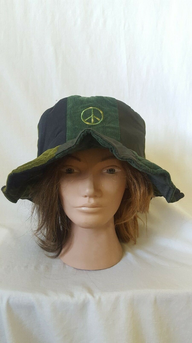 Hippie Hats,  70s Hats Hippie Hat Patchwork Floppy Hat Corduroy Hat Festival Hat Dead and Company Woodstock Phish Show Hippie Chick Peace Sign Hat Tour Gear $27.00 AT vintagedancer.com
