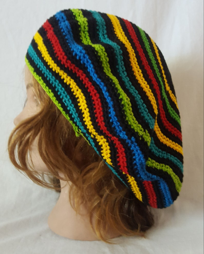 Hippie Hats,  70s Hats Colorful Crochet Cotton Tam // Crochet Beret // Hippie Hat $15.00 AT vintagedancer.com