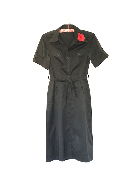 Vintage Shirt Dress Betty Barclay // Black with Re