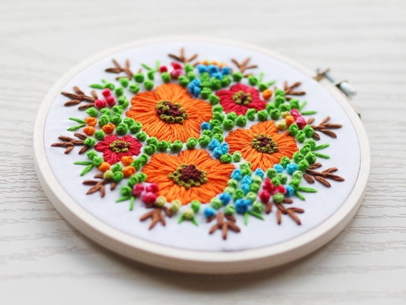 Abstract Embroidery Coral Embroidery Hoop Art Geometric Art Design Hand Embroidery Orange Embroidery Peach Monochromatic Art Textured Art