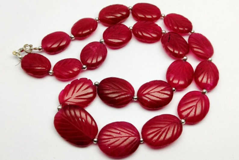 404 Cts Natural Red Ruby Hand Carved Oval Beads Necklace Gemstone