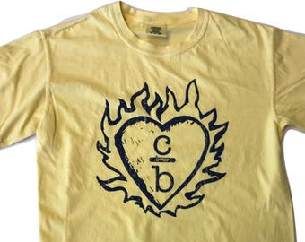Clothes Over Bros ( Flame Heart ) T  Shirt   Butter   Comfort Colors