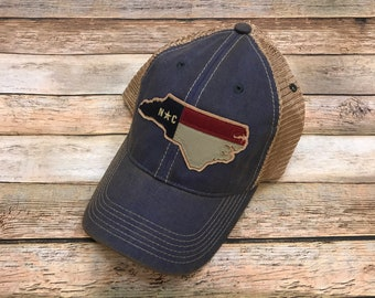 NC State Outline Patch Legacy – OFA Trucker Hat- Vintage Blue Jean 8b5d6444141