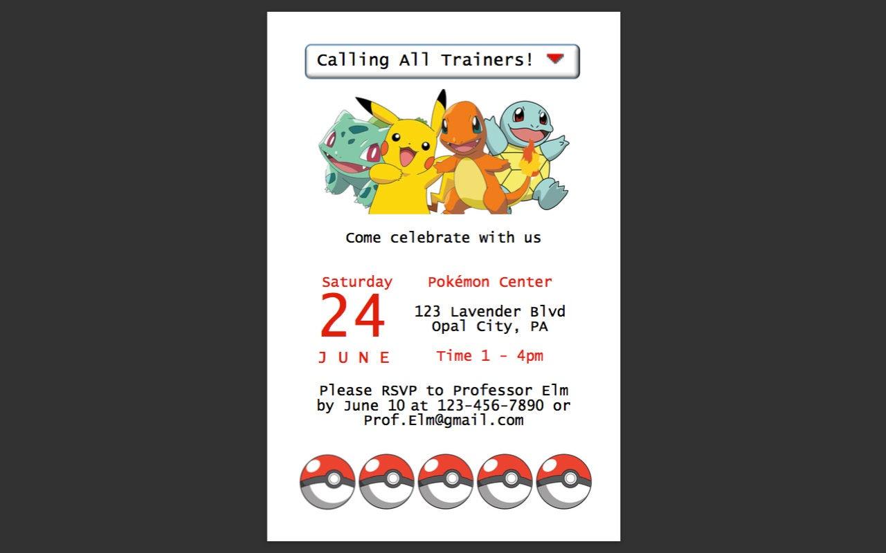 Pokemon Themed Birthday party Invitations 4x6   Etsy