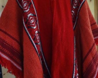 Red Milmarte Genuine South American Warm Poncho