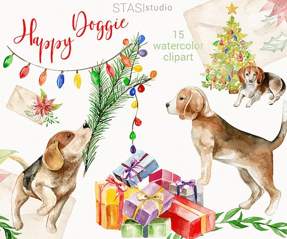 Christmas Beagle Clipart.Christmas Watercolor Clipart Happy Doggie Holiday Dog Presents Cute Floral Christmas Pets Xmas Greetings Red Green Clipart