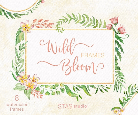 Wild Bloom Watercolor Floral Frames Green Leaves Peach Pink Etsy
