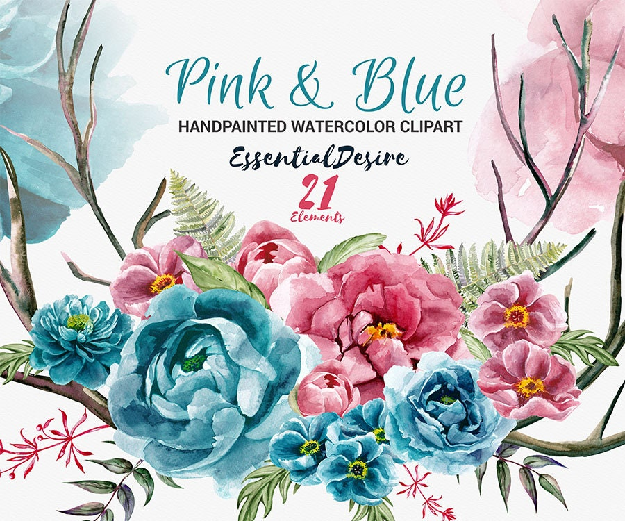 Peonies Clipart Watercolor Peony Hand Painted Clip Art | Etsy