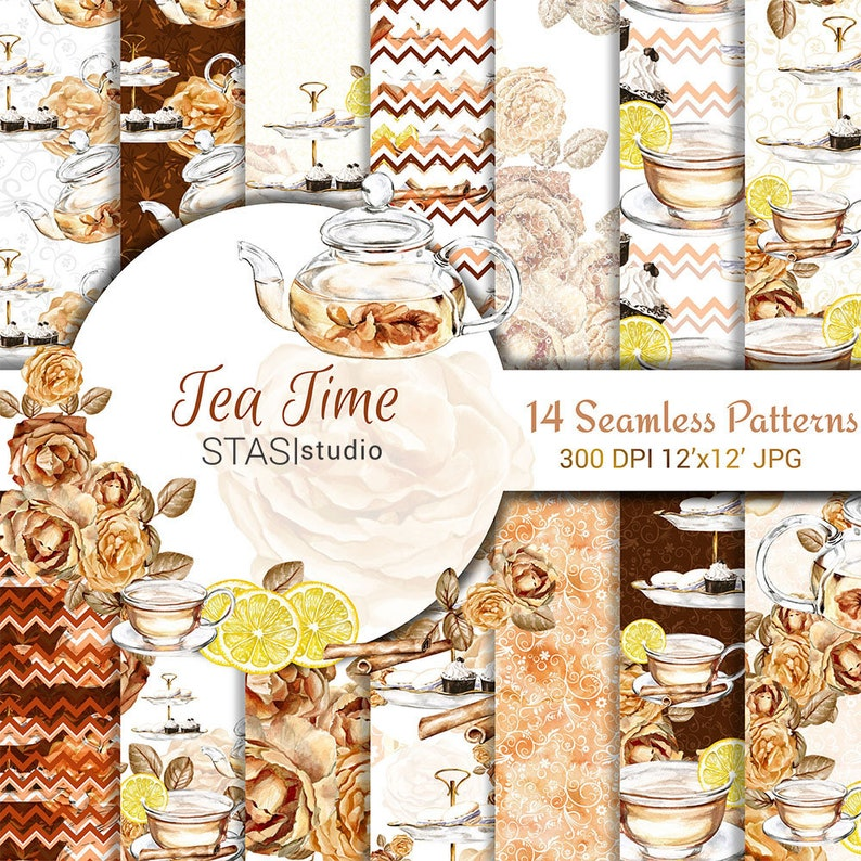 Tea Time Paper Pack Tea Party Digital Paper Pack Seamless image 0