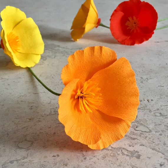 Crepe paper california poppy single stem wedding flowers etsy image 0 mightylinksfo