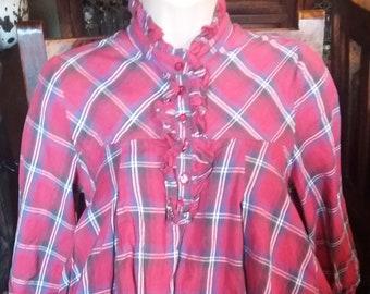 red tartan 80s style top