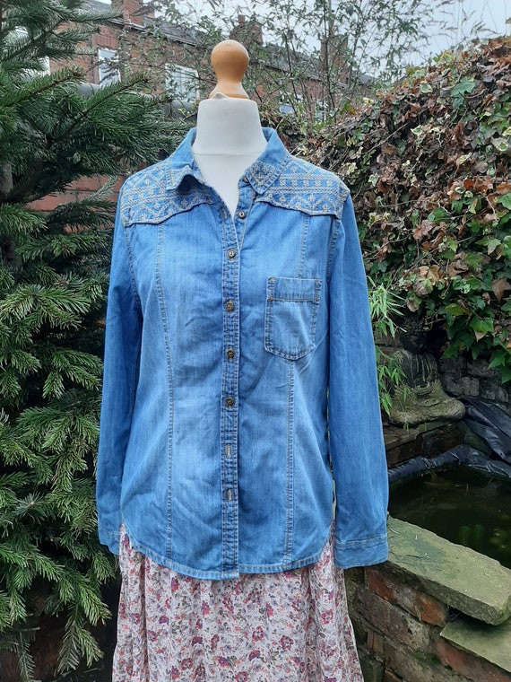 embroidered denim shirt jacket for the seventies l