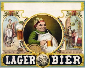 Lager bier, beer poster, vintage poster, printable poster, digital download, digital poster, italian poster, old poster, beer ad, vintage ad
