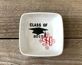 Personalized Ring Dish, Graduation Gift, High School Graduation, Graduate Gifts, Gift for Graduate, Graduation Card, Graduation Cap,