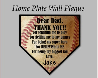 78828bfd76 Custom Baseball Home Plate Plaque, Thank You Dad Sign, Personalized Home  Plate, Father's Day Gift, Birthday Gift for Him, Gift for My Dad
