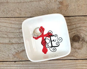 Cross Decor Dish Jewelry Personalized Gift Religious Gifts For Friend Baptism Birthday Confirmation