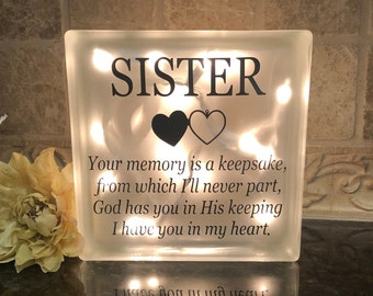 Sympathy In Loving Memory Bereavement Gift for Grieving Sister or Brother Sister Memorial Keychain or Purse Clip