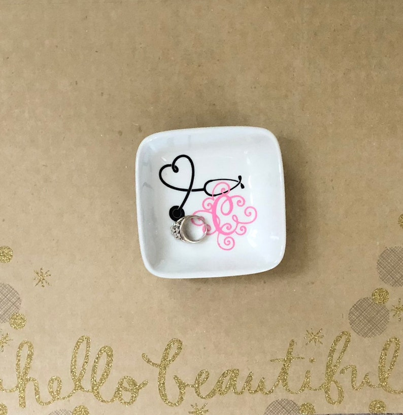 Jewelry Dish for Her Personalized Gift for RN or CFNA Graduation Gift For Nurse Stethoscope Ring Holder For Nurse Nurse Appreciation