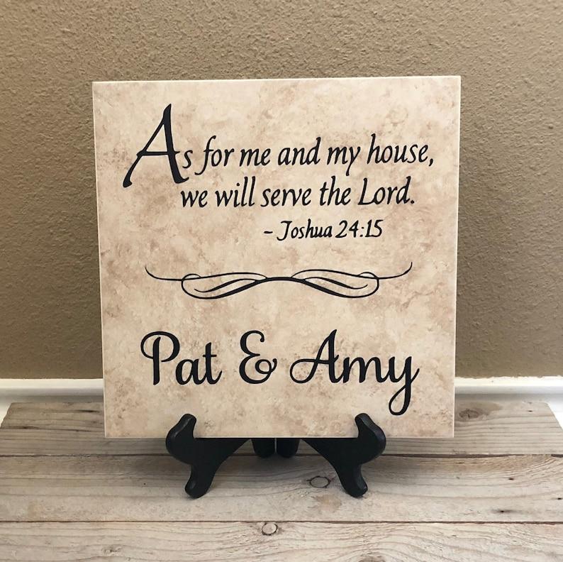Scripture Sign Scripture Tile Scripture Decal Scripture Beige w/Brown Stand