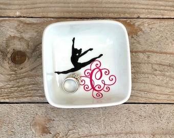 Monogrammed Jewelry Dish, Ring Dish, Personalized Ring Dish, Ballet Dancer, Cheerleader Gift, Dancer Gift, Jewelry Holder, Dance recital