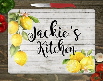 Personalized Lemon Glass Cutting Board, Custom Name, Kitchen Decor, Gift for Friend Birthday, New Home, Gift for Daughter, Jennifer's Craft