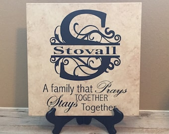 Family Prays Together Stays Together Tile Sign, Gift for Mom, Family Quote Sign, Sign With Name,  Jennifer's Craft Corner
