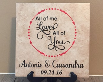 All of Me Loves All of You, Family Name Sign, Wedding Gift, Engagement Gift, Name Plaque, Established Sign, Family Name, Anniversary