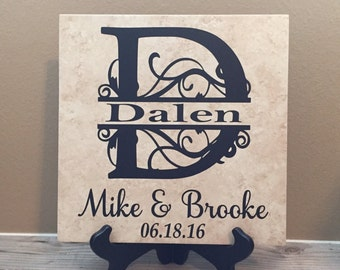 Gifts for Women, Wife Birthday Gift, Anniversary Gifts, Personalized Gift, Established Sign, Family Name Sign, Name Tile, Last Name Sign