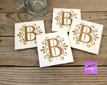 Tile Coasters, Personalized Coasters, Housewarming Gift, Wedding Gifts, Anniversary Gifts, Monogrammed Coasters, Christmas Gifts, Set of 4
