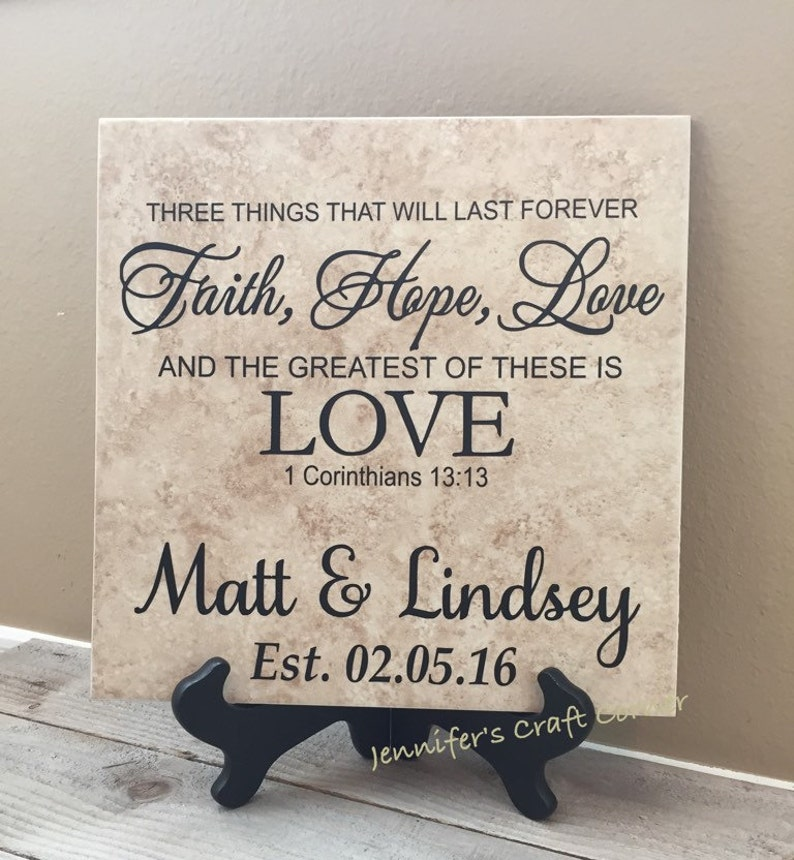 Personalized Faith Hope Love 12x12 Tile Sign Unique Wedding image 0