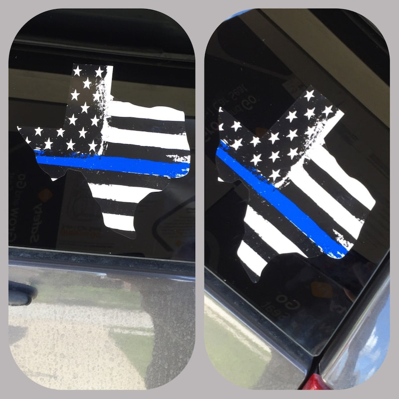 Blue Line Flag Window Decal Blue Lives Matter Texas Decal image 0