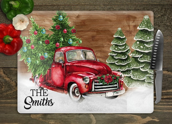 Personalized Glass Cutting Board Red Truck Cutting Board Etsy