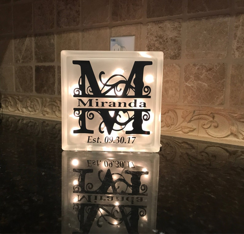 Personalized Night Light Monogrammed Light Box Frosted Glass image 0