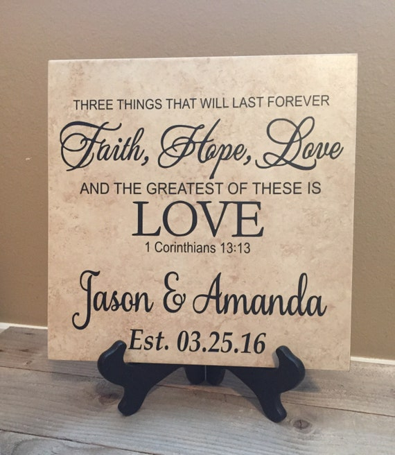 Wedding /& Anniversary Personalized Laser Engraved Wood Cross 1 Corinthians 13