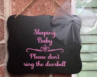 Baby sleeping sign, Do not ring doorbell, Do not knock, Baby door sign, Shh baby sleeping sign, Baby shower gifts, Gifts for new mom,